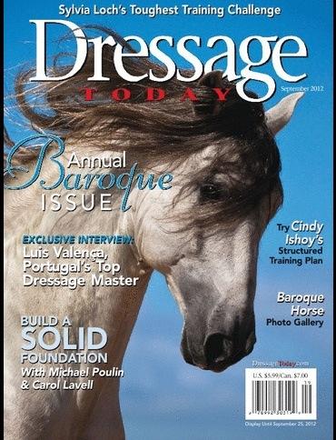 Richebourg Interagro, Lusitano stallion cover of Dressage Today Magazine (09/2012)