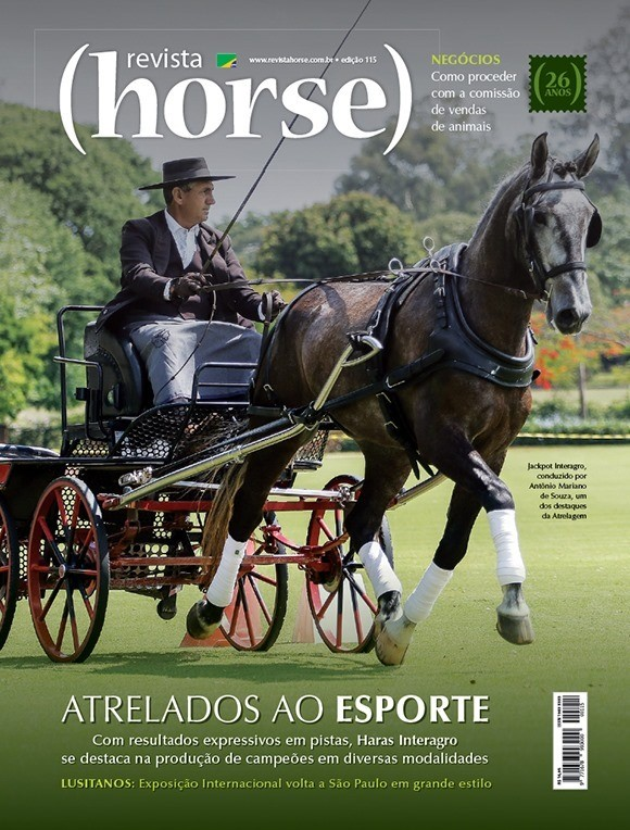 Jackpot Interagro and Antonio Mariano de Souza on the cover of Revista Horse, Brazil's premier equestrian magazine