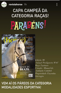 "Perdigueiro´s cover - the winner of ""Breeds"" category representing the Purebred Lusitano on August 13th with over a thousand votes."