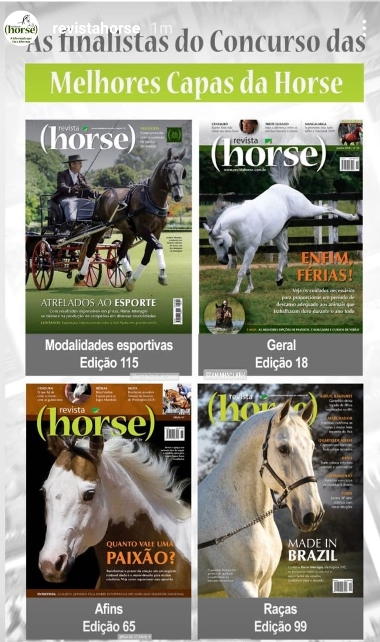 "The finalists of the ""Best Covers Contest"" of Horse Magazine in Brazil"