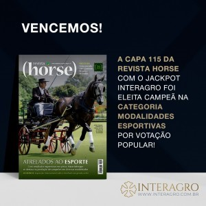 Jackpot Interagro, driven by Interagro's Antonio Souza, won the Sports Discipline category representing the carriage driving, photographed by Heleno Clemente for the cover of Edition 115.